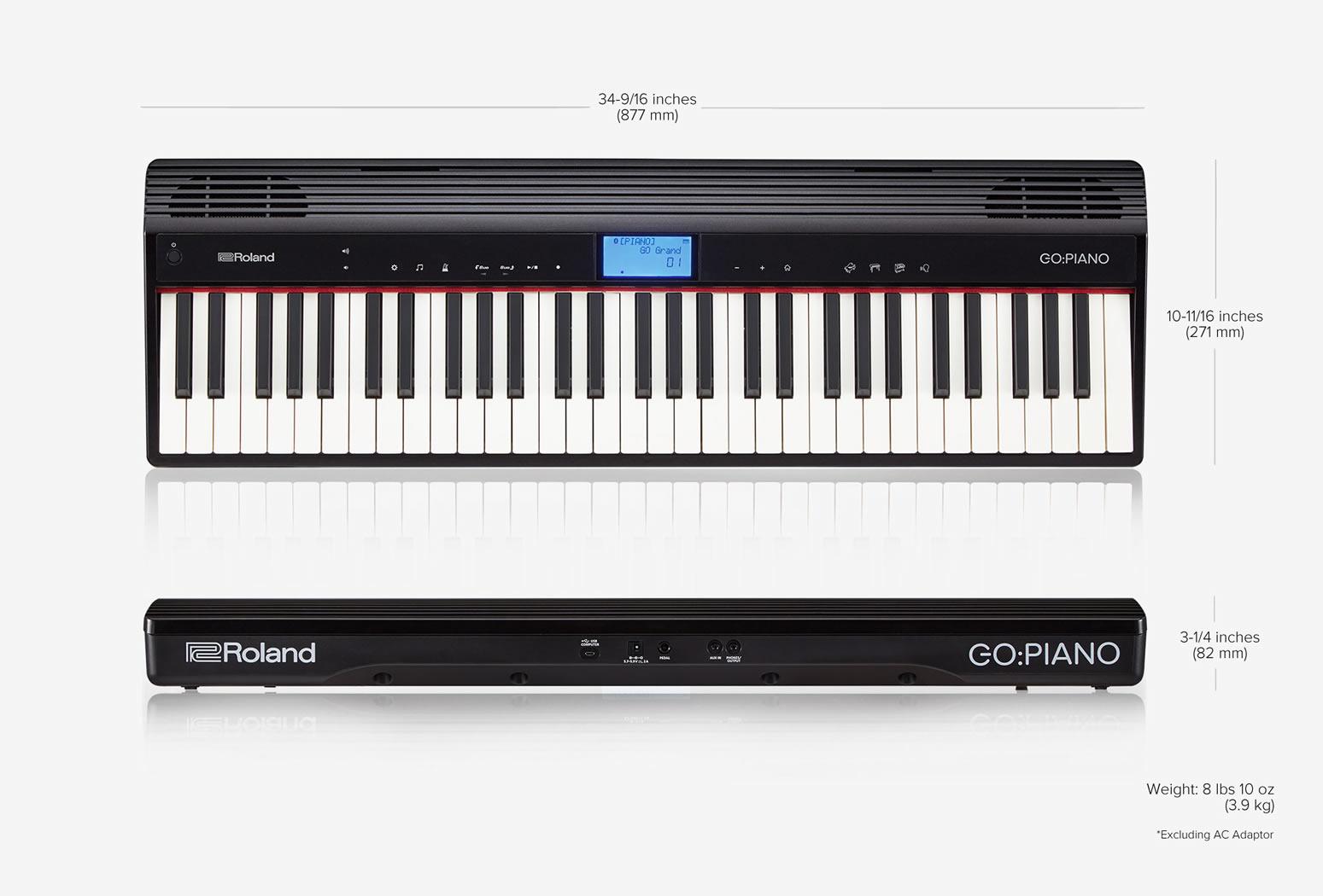 Roland go piano digital piano go 61p for Small piano dimensions