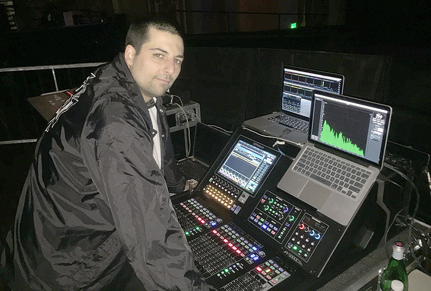 Tomas Wolfe, pictured with the Roland M-5000 OHRCA Live Mixing Console.